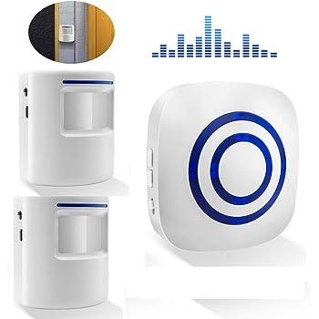 Domowin Timbre de Alarma Detector de presencia Port/átil impermeable Avisador de Puerta 38 melod/ías Alarma de seguridad 1 Sensor /& 2 Receptor