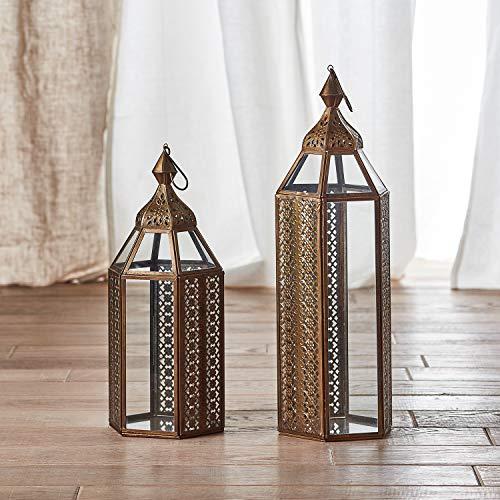 Lights4fun Asilah Morcoccan Lantern Bundle Regular & Large Brass Effect Artisan Collection Indoor Use