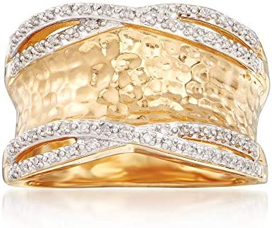 Ross Simons 0 13 ct t w Diamond Hammered Ring in 18kt Gold Over Sterling Size 5 product image