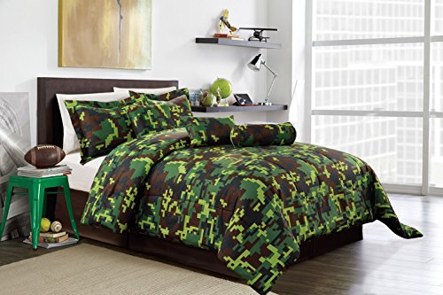 Hunter Green Brown Black Camouflage Camo Pixel Comforter Set Bed in A Bag Full Size Bedding