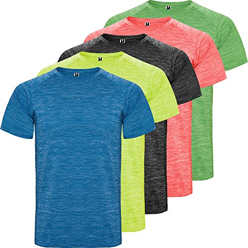 ROLY Camiseta técnica Hombre | Pack 5 | Manga Corta | Transpirable | Deporte: Fitness, Running, Crossfit, Padel | Tejido técnico- Poliéster (Combinación 1, L)