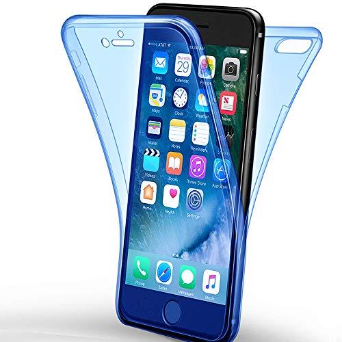 e-phoria Cubierta Completa Compatible con Apple iPhone 7/8 | Borrar | TPU Azul Choques