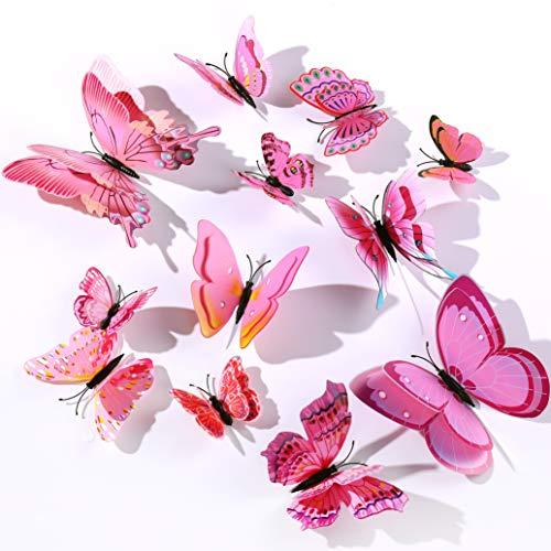 Derbway 12 Pieces 3D Butterflies Wall Stickers,Double 3D Wings,DIY Wall Decoration Crafts Butterflies for Kids Room,Party Decor,Garden Plants Decor (Pink)