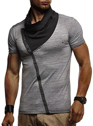 Leif Nelson Herren Sommer T-Shirt Stehkragen Slim Fit Casual Baumwolle-Anteil Cooles weißes schwarzes Männer Kurzarm-T-Shirt Hoodie-Sweatshirt-Longsleeve lang LN1020 Anthrazit XX-Large