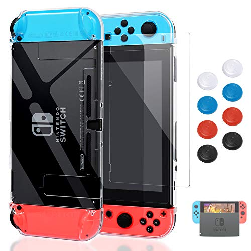 Case for Nintendo Switch, Fit The Dock Station, Protective Accessories Cover Case for Nintendo Switch and Joy Con Controller Dockable with a Tempered Glass Screen Protector, Transparent