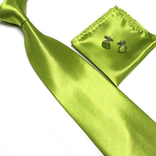 Cravate + Pochette + Bouton de Manchettes Satinée - Vert Pomme - Neuf