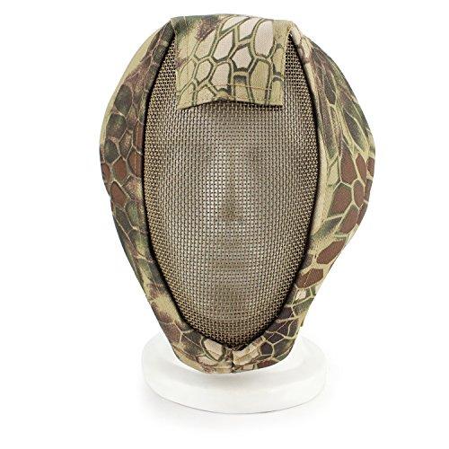 XUE Airsoft Maske Camo Full Face Mesh Gesichtsmaske Taktische Paintball Schutz Masken für Fechten Jagd Halloween (3 Farbe)