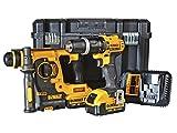 DeWalt, set doppio, con martello a percussione SDS-plus e trapano avvitatore, 18V, 2x 4.0Ah Li-ion, 1pezzo, DCK206M2T