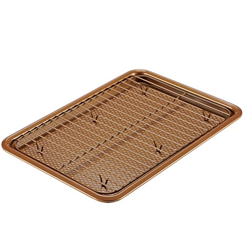 Ayesha Curry Nonstick Bakeware Set with Nonstick Cookie Sheet / Baking Sheet and Cooling Rack - 2 Piece, Copper Brown