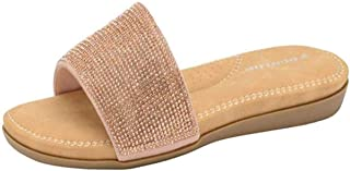Dunlop Womans Ladies Eleanor Glitter Sparkle Slip On Slider Sandal Cushioned Padded Insole Small Wedge Heel in Black Or Si...