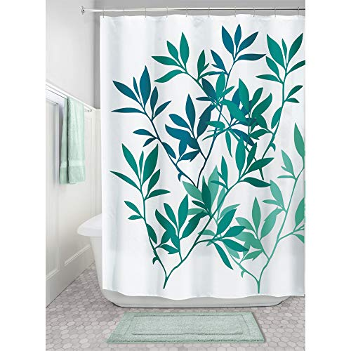 iDesign Leaves Duschvorhang | Designer Duschvorhang in der Größe 183,0 cm x 183,0 cm | schickes Duschvorhang Motiv mit Blättern | Polyester petrol