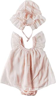 Newborn Baby Girls Lace Dress Mesh Romper+Ruffle Bonnet Sleeveless 1st Birthday Outfits