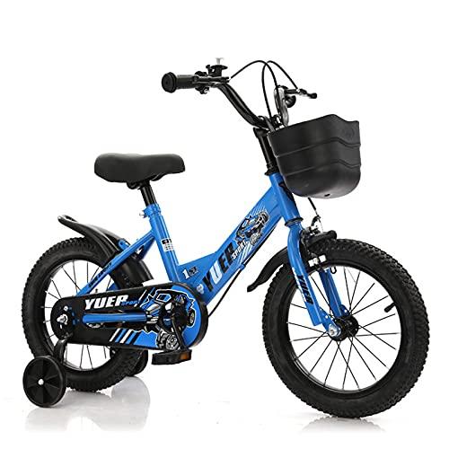 Bicicletas infantiles, Bicicleta Para Niños, Bicicleta Para Niños Con Freno De Mano Y Cesta Para Edades De 3 A 9 Años, 12 14 14 Pulgadas Princess Bikes Bicicletas Con Ruedas De E(Size:14in,Color:Azul)