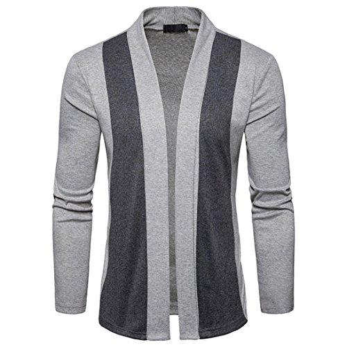 Toamen Hommes Manteau, cardigan Cardigan en patchwork Veste Manteau Couche mince manteau Décontractée Pour des Hommes (L,Gris)