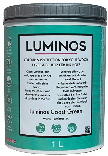 Luminos - Barniz Lasur Protector Para Madera Exterior (1L, Coast Green)