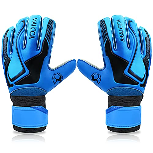 OBBSEN Goalkeeper Goalie Gloves for Youth& Adult Soccer Gloves with Finger Protection to Prevent Injuries Strong Grip Gloves (Blue, 10)