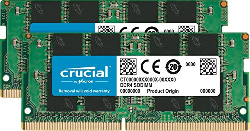 Crucial 32GB Kit (16GBx2) DDR4 2666 MT/s (PC4-21300) DR x8 SODIMM 260-Pin Memory - CT2K16G4SFD8266