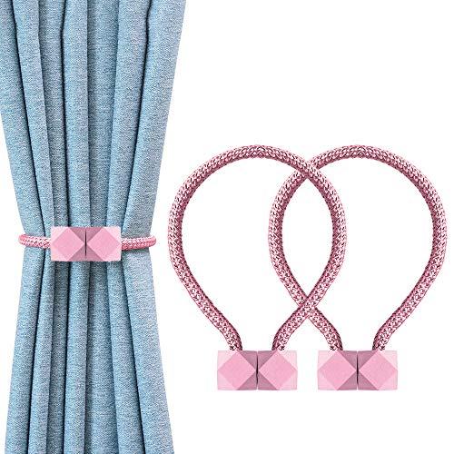 OTHWAY Magnetische Vorhang Raffhalter, 2 Stück Vorhang Clips Seil Rückwärtige Vorhang Halter Schnallen Vorhang Binder Gardinenhalter für Haus Dekoration (Pink)