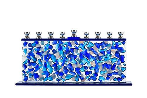 Ner Mitzvah Vela cristal Menorah adapta Estándar Velas de Januká hechos a mano y confeti Cristal Azul