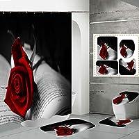 驚きが大好きです!お風呂のカーテンを掃除する入りやすいバスマットのトイレの蓋カバーマット敷物シャワーカーテンセット、バレンタインデーのバラの花の赤いハート red15-150*180cm
