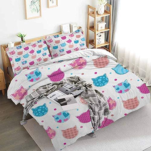 Aishare Store - Juego de funda de edredón para niñas, diseño de cabeza de gato con lunares y rayas, diseño de parches decorativos, 3 piezas con 2 fundas de almohada, color azul fucsia