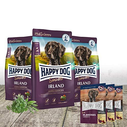 Happy Dog - Irland 3 x 4 kg Frischepack + 3 x gratis passende Irland Sticks als Leckerli