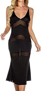 Womens Sexy Long Sling Lingerie Dress Sheer Mesh Black Nightwear Babydoll Long Gown Black Elegant Charming See-Through Pyj...