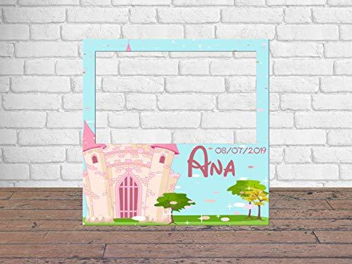 Photocall Mi Primera Comunión Castillo Princesas 100 x100 cm | Detalles Comunión | Photocall Económico y Original | Disfruta de Unas Divertidas Fotos con Nuestro photocall de comunión