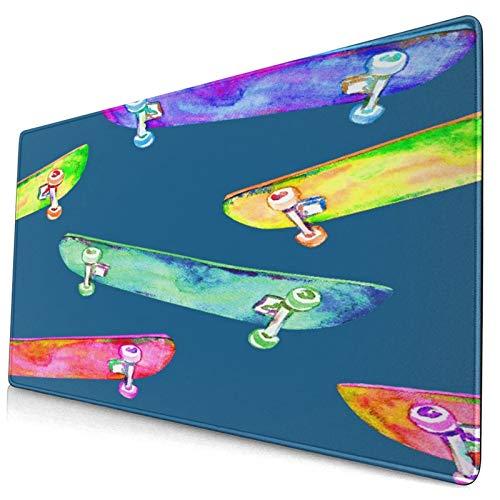 Extra Groß Spiele Mauspad mit Genähten Kanten,Buntes Skateboard-Design handgemaltes Aquarell,Rutschfest Gummibasis Computer Tastatur Matte,29.5