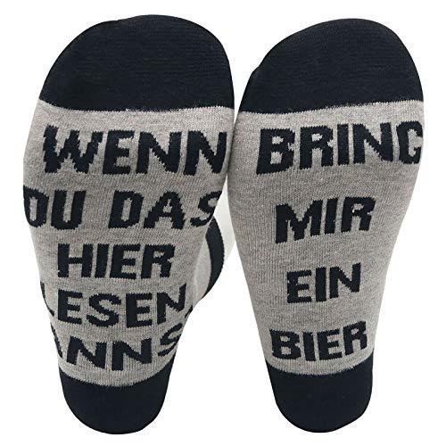JEEBAY Bier Socken Lustige Socken WENN DU DAS HIER LESEN KANNST BRING MIR BEER Wintersocken Geschenk für Männer Frauen Geburtstag oder Party