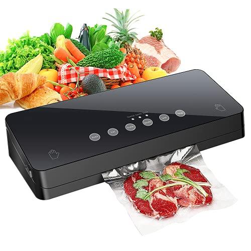 EZGETOP Envasadora Máquina Selladora de Vacío para Alimentos Secos y Húmedos Preservación Sistema de Sellado Automático por Vacío,Luces Indicadoras LED Inteligentes (Negro)