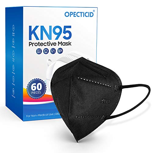 KN95 Face Mask (60 Pack Black) Individually Wrapped Cup Dust Mask FDA Approved 5-Ply Breathable Layer Filter Efficiency≥95% Against PM2.5 Disposable Certified KN95 Respirator Masks in Bulk