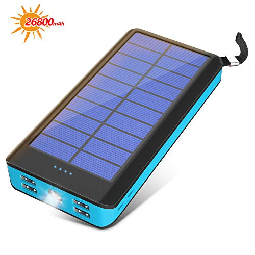 BONAI Solar Powerbank 26800mAh Externer Akku Handy Solarladegeräte mit LED-Leuchte Power Bank für iPhone,Sony,Huawei,Android Phones,iPad,Samsung Galaxy und Mehr Smartphone(Blau)