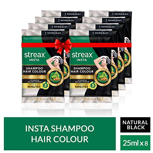 Streax Insta Shampoo Hair Colour-Natural Black-25 ml-Pack of 8