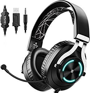 EKSA Gaming Headset for Xbox One PC Headset with Noise Cancelling Mic, RGB Light & In-Line Control, Gaming Headphones for PC, Laptop, PS4, PS5, Nintendo Switch, Xbox One (S/X)