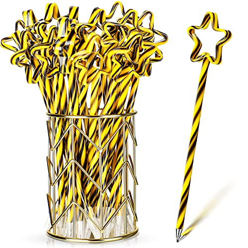 Graduation Pens Star Pens for Graduation Black and Gold Stripe Rollerball Pen 0.7mm Black Gel Ink with Star for Graduation Party Favor Student, School Office Home Supplies (96 Pieces)