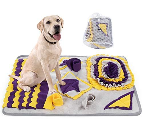 Mocraft Schnüffelteppich Hund,70x50cm Schnüffelteppich Matte Hundespielzeug,Schnüffeldecke Hundespielzeug Fördert Natürliche Nahrungssuche,Schnüffelteppich mit Wäschesack (Lila)