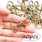 20Pcs 360° Metal Swivel Trigger Snap Hooks Lobster Claw Clasps, Wide 3/4 Inch D...