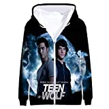 Teen Wolf Pullover Versión Coreana Original Cierre de Cremallera Sudadera Sudadera de Manga Larga Top Camiseta de Entrenamiento para Hombre Hombres (Color : A05, Size : L)