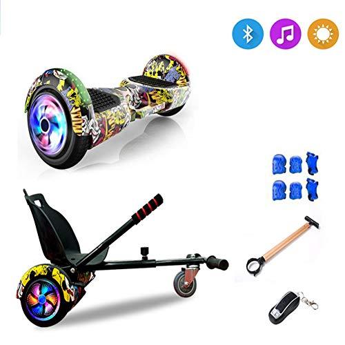 SUN JUNWEI Hoverboard Hover Scooter Board Elektro Drift Self Balance Board - Bluetooth - LED Leuchten, Für Kinder, Jugendliche Erwachsene + Hoverkart