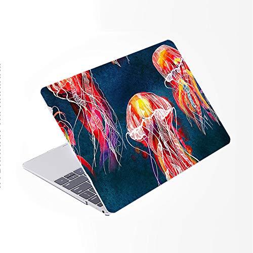 SDH Funda para MacBook Pro de 15 pulgadas 2019 2018 2017 2016 lanzamiento A1990 A1707, carcasa rígida de patrón de plástico y piel de teclado degradado compatible con Mac Pro 15 Touch Bar & ID, medusas abstractas 2