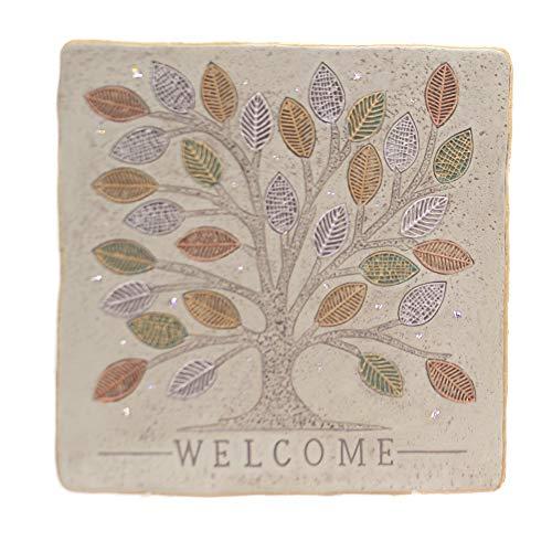Grasslands Road Placas de pie de bienvenida – Decoración de placa de jardín – Decoración para exteriores – placa de patio, cemento/cuerda, 6 por 4 por 2 3/4 pulgadas