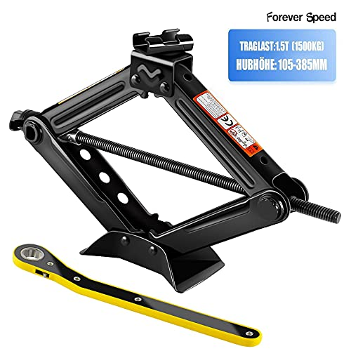 Forever Speed 2T Tijera para Automóviles Elevador Tijera Manivela Llave de carraca 360 ° Aabeza de Actividad (1.5T)