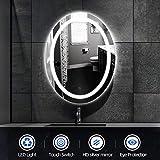 20W,Miroir de salle de bain,Miroir LED, ovale, blanc...