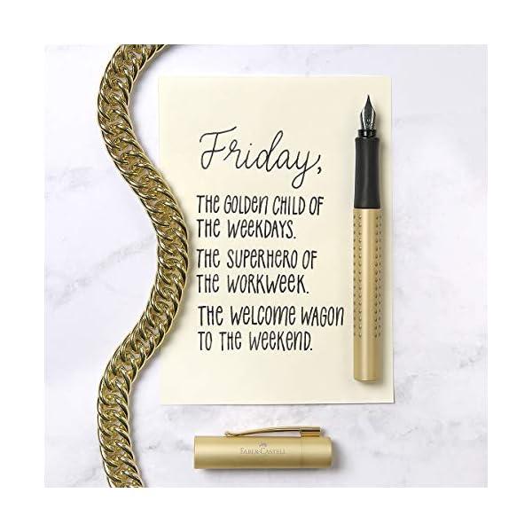 Faber-Castell 201625 Grip Edition – Set de regalo, pluma estilográfica M y bolígrafo con mina XB, en estuche de metal de alta calidad, color dorado