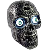 Liberty Imports Motion and Sound Activated Skull with Glowing Eyes and Creepy Sounds - Halloween Prop Decoration