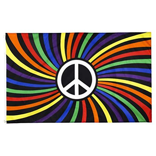 PRETYZOOM Signo de La Paz del Arco Iris Bandera del Orgullo para La Fiesta Temática del Arco Iris LGBT LGBTQ Suministros de Decoración del Partido del Orgullo Gay Lésbico 90X150cm