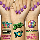 Disco Temporary Tattoo Set (4 Pages) - 1970s Retro Party Decorations, Supplies and Gifts