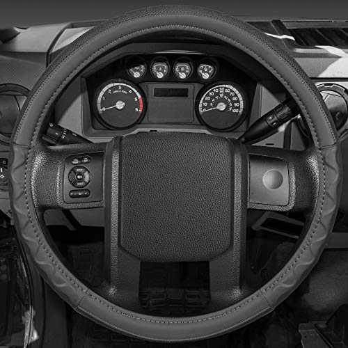 Motor Trend Ergonomic Leather Grip Steering Wheel Cover for Big Rigs Trucks and Semis 18' Large Heavy Duty Non Slip Long Haul/Long Drives (Gray)
