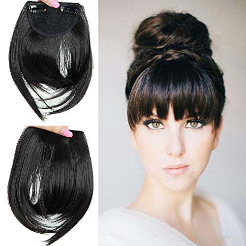 6' Straight Hair Clip in Bangs Front Fringe Extension 100% Invisible Natural - One Piece Hair...